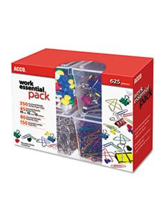 ACC76233 350 PAPER CLIPS, 150 PUSH PINS, 80 BUTTERFLY CLIPS AND 45 BINDER CLIPS, ASSORTED
