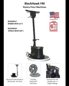 BLACKHAWK 17 INCH FLOOR MACHINE W/ 2-PIECE DESIGN & HAWK-LOK DRIVER, 1-1/2 HP AC 110V 60 Hz, 10:1 GEARS