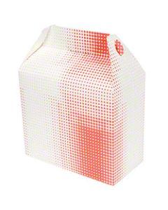 QP-3527 BOX PAPER LRG BARN STYLE WHT &RED 9.5X5X8 125/CS