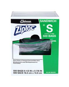 SCJ-682255 BAG POLY ZIPLOC SANDWICH 6.5X6 500/CS